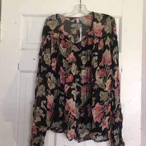 NWT ASOS Sheer Floral Top With Tassels Sz 8 M
